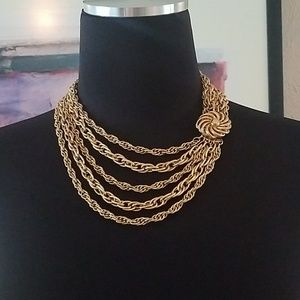 Corocraft Vintage Gold Tone Multi Strand Necklace